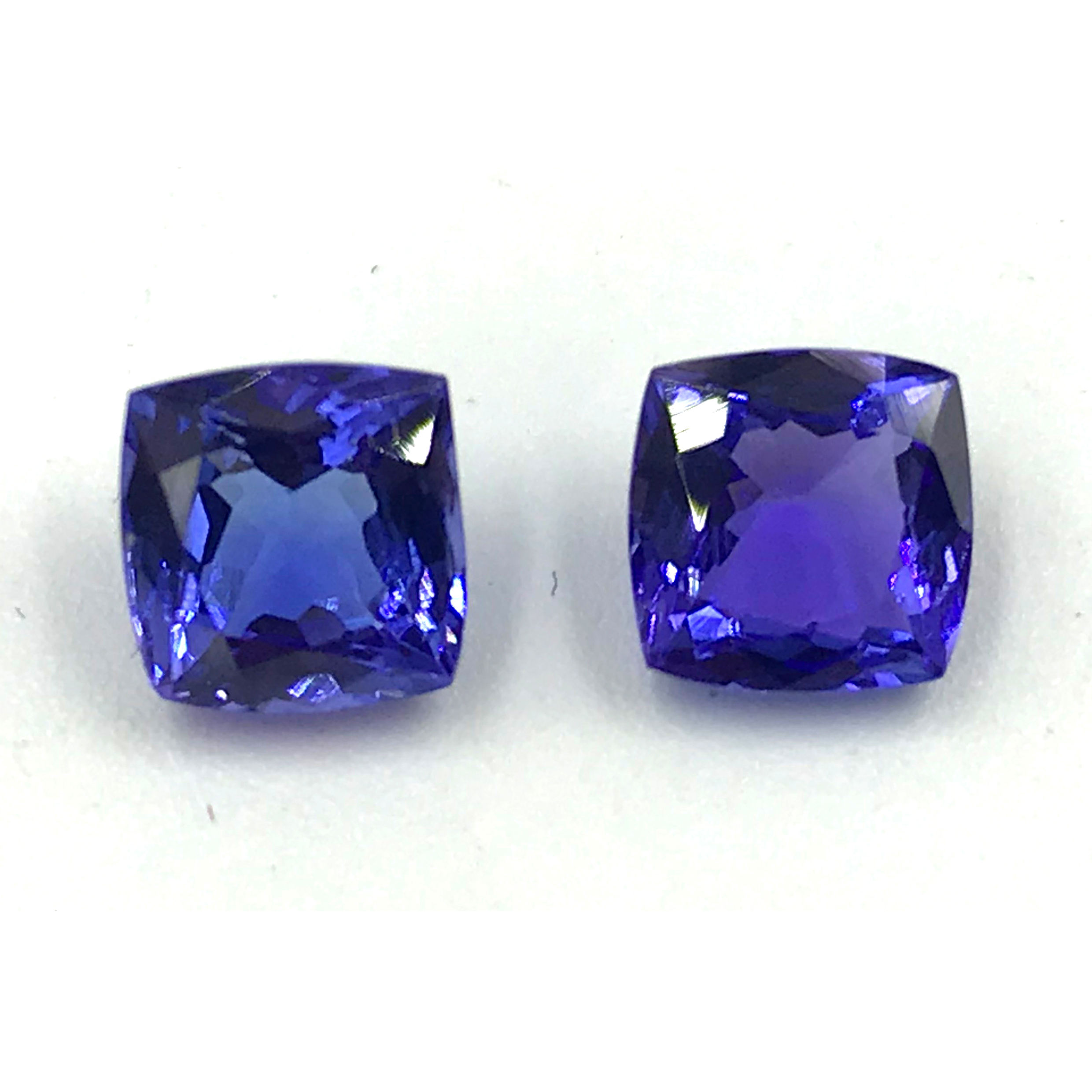 Top Certified International Supplier Of Unheated & Untreated All Natural Stone Tanzanite Cushion Faceted Gemstone Pair On Sale