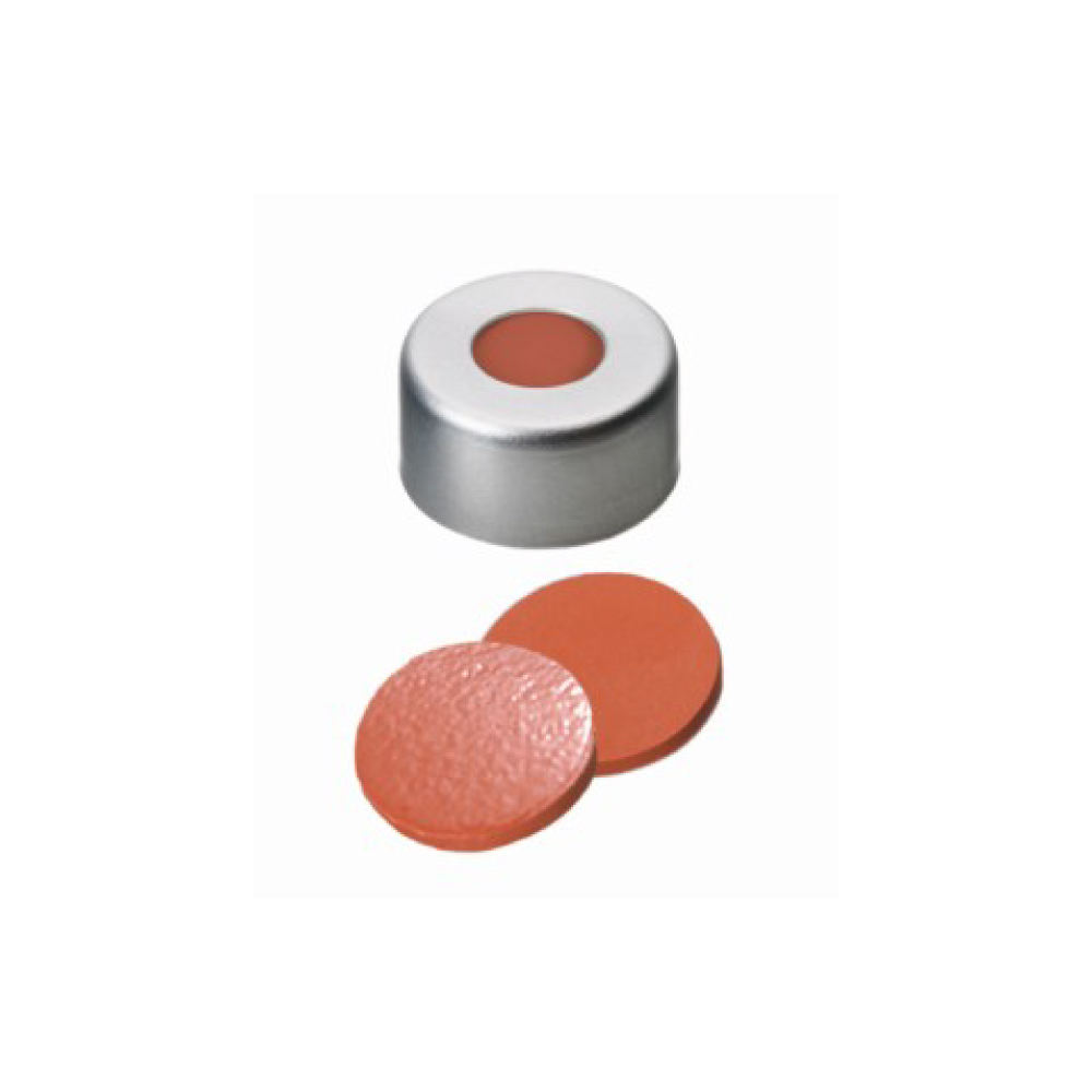11mm Combination Seal: Aluminium Cap, clear lacquered, centre hole; Natural Rubber red-orange/TEF transparent, 60 shore A, 1.0m