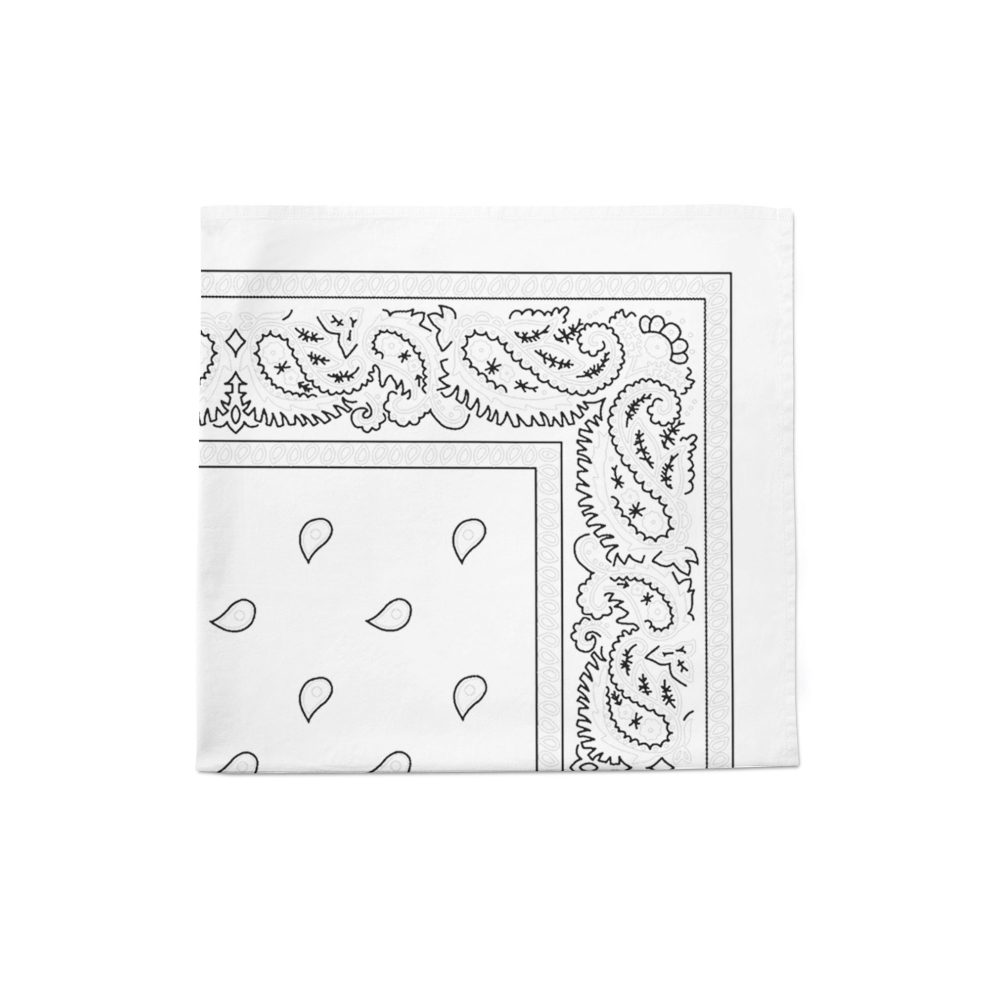 White Paisley Cotton Bandanas 22 inches - Sold in Dozen - Multi Uses: Face Covering, Napkins, Handkerchief, Scarf, Promotion