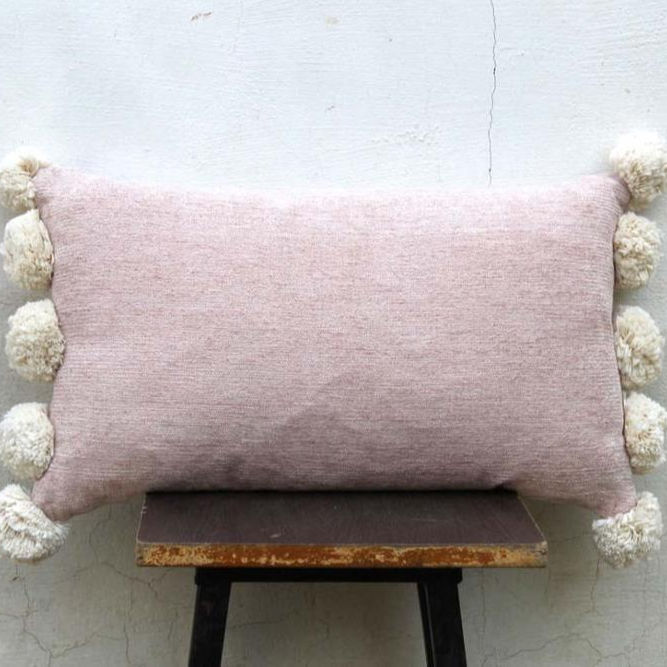 Chenille Pink Color Pillow Cover with tassels Living room Cushion Couch Pillows Modern Pillows Pom Pom Cushion Cover