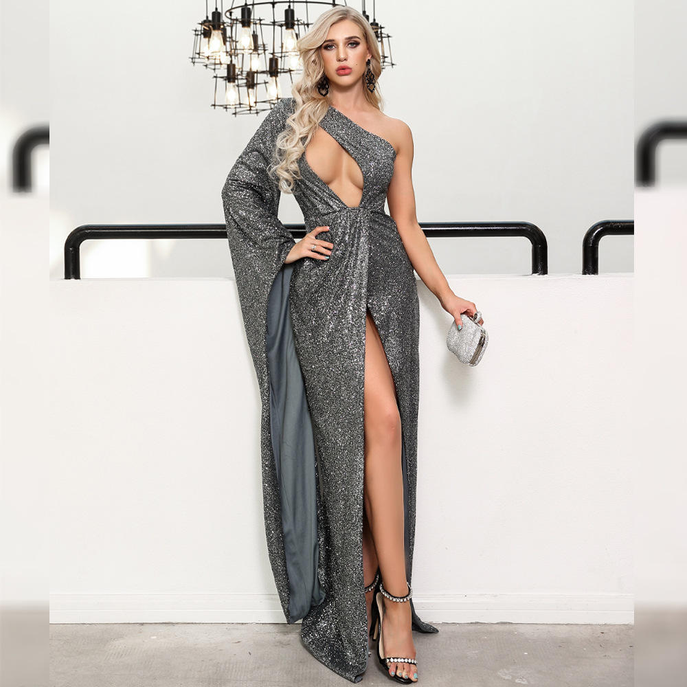 2019 Sexy One Puff Sleeve Side Slit Sequined Women Dresses Evening Formal Gowns