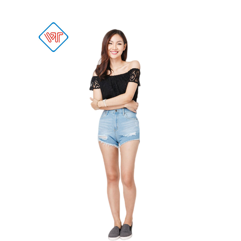 ODM/OEM manufacturing ladies high waisted short denim jean made in Vietnam