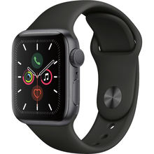 Apple Watch Series 5 - 44mm Space Gray Aluminum - Black Sport Band - GPS