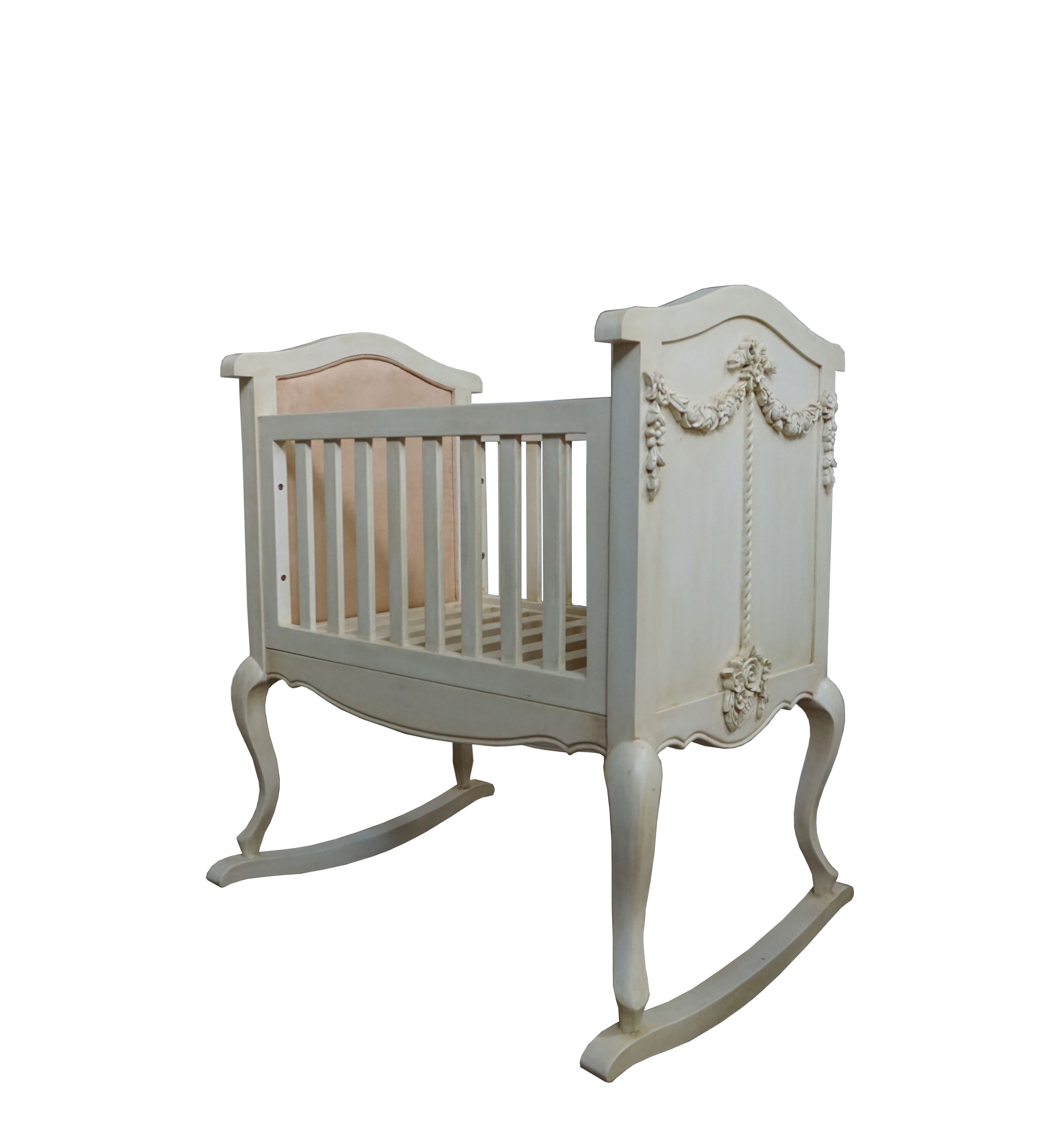 Baby Cradle With Classic Style From Mahogany Wood With Color Finishing, Low Price Baby Cradle From Wood
