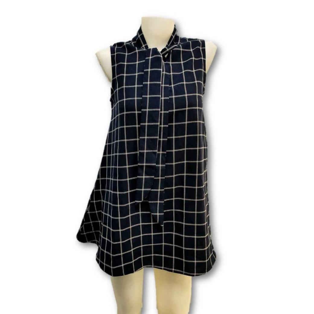 WomenのCasual Plaid Sleeveless Ruffle Sundress Round Neck A-Line Mini Short T Shirt