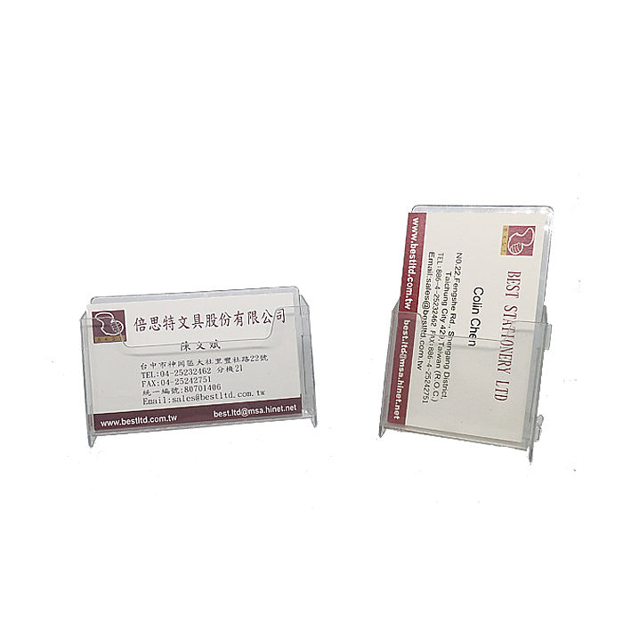 Transparent Plastic Business Card Stand for Office