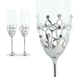 Customised Luxury Gothic Style Metal Craft Couple Champagne Flutes K9 Glasses Set Pair with Crystals from Swarovski
