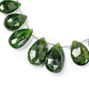 5x10-6x12 mm approx 8 inch strand Chrome Diopside 1 strand VERY NICE QUALITY Faceted Drops Briolettes Wholesale
