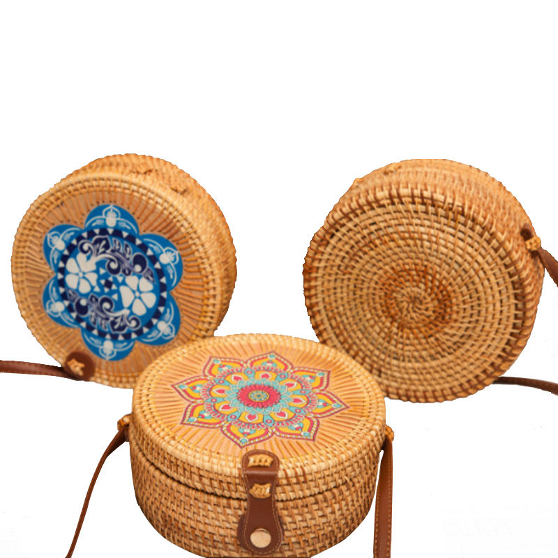 For Beach Fashion Summer Hand Made Round Marakech Bamboo Rattan Bag