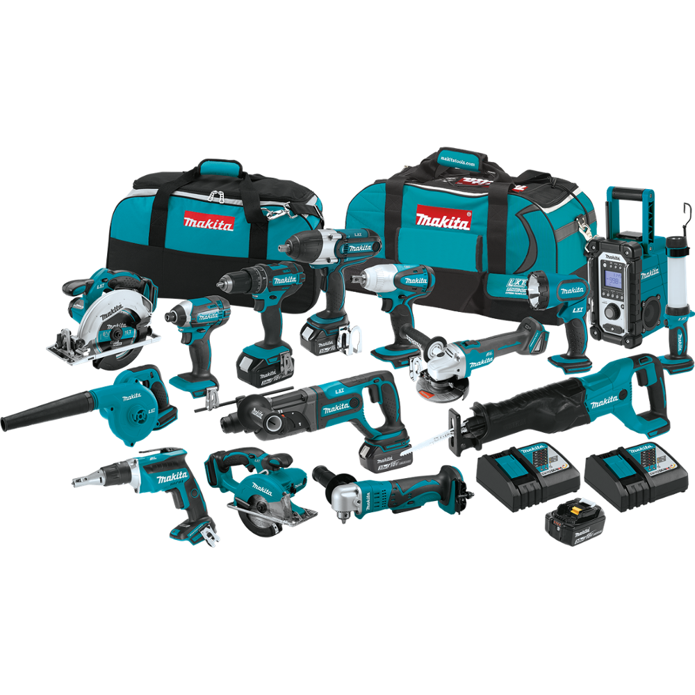 100% original Makitas LXT1500 18-Volt LXT Lithium-Ion Cordless 15-Piece Combo Kit / power tool / cordless drill