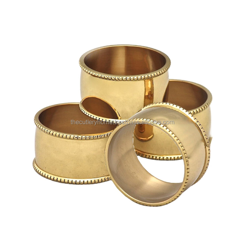 Brass Round Napkin Ring Handmade Smooth Design With Embossed Dotted Chain Design Decorative Napkin Ring