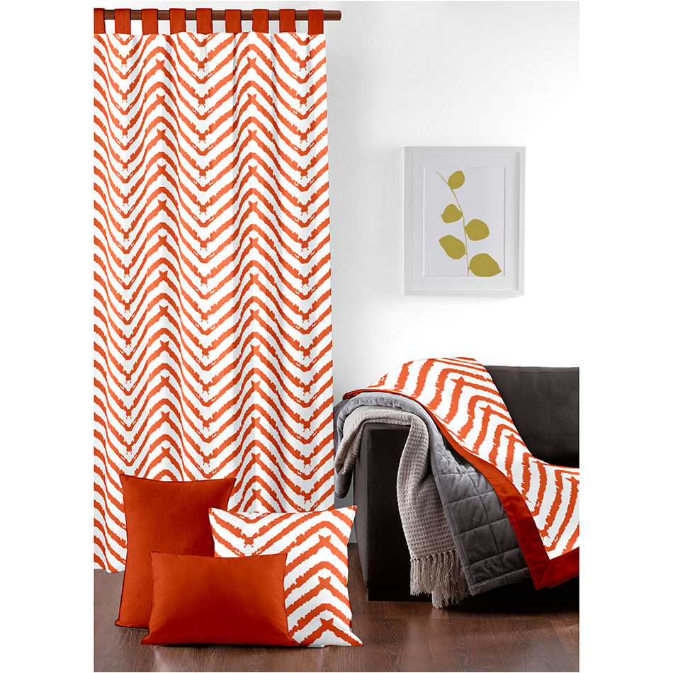 Cheap Price Selling Orange Colored Striped Printed Curtains /Door Covering/Christmas Curtains