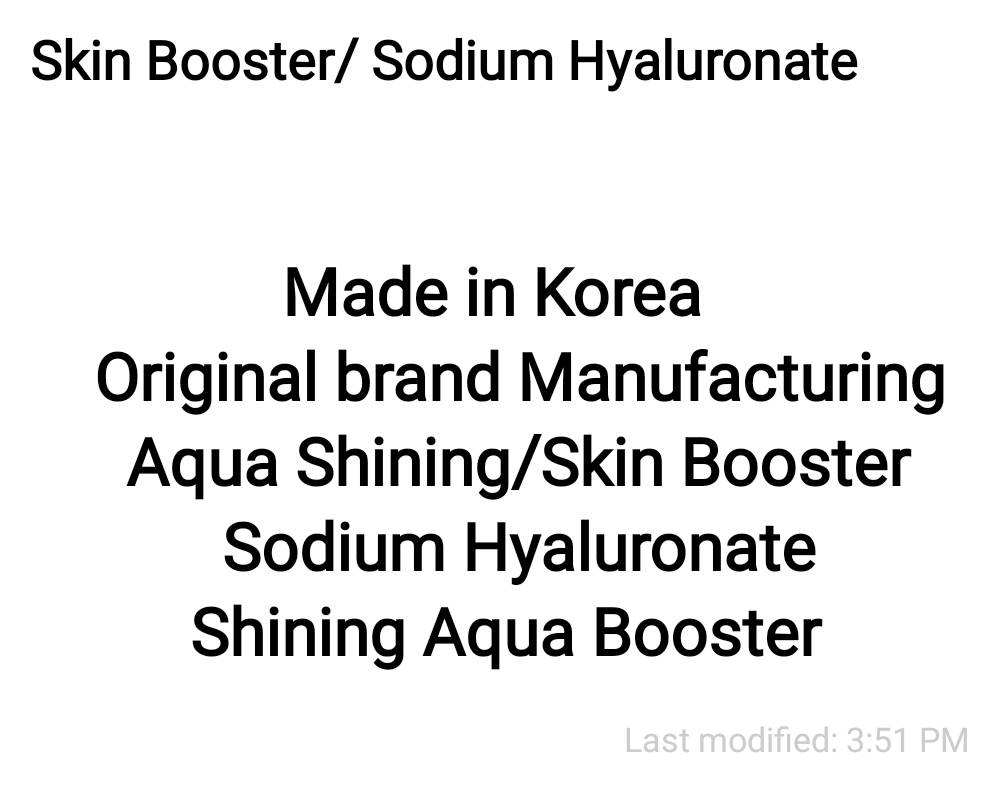 Sodium Hyaluronate/Skin Booster solution/Derma Shining solution