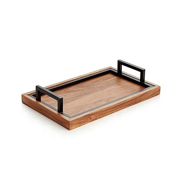 Square wooden tray with Black metal handle