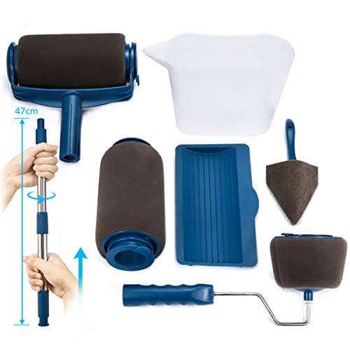 Paint Runner Pro Roller Brush Set Handle Tool Black /& White Trends Mess Free TV