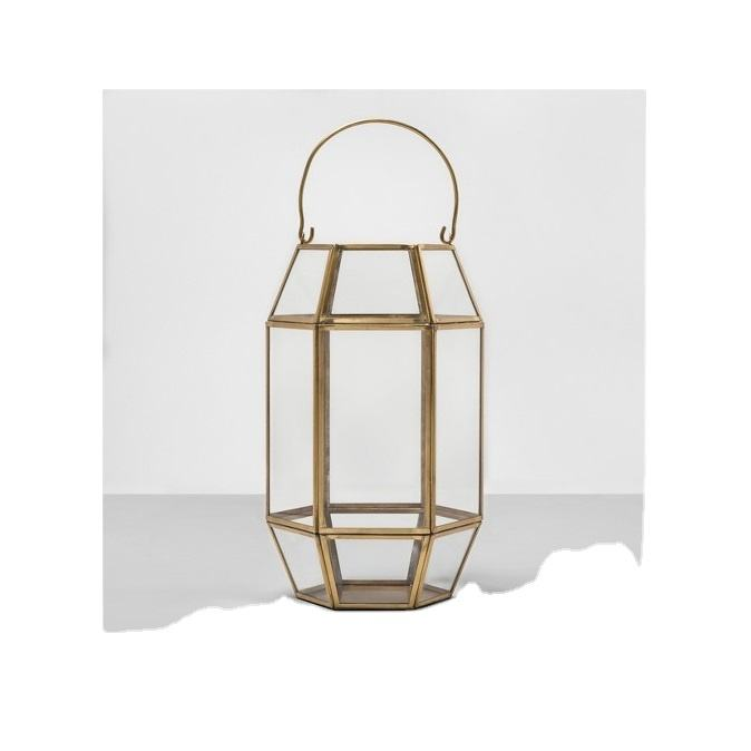 Outdoor Garden Indoor Home Decoration Hurricane glass Candle Lantern in brass antique finish