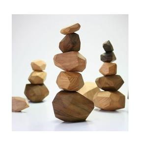 Wooden Colorful Stones Building Block Stacking Game Toy Blocks Construction Toys For Children Wooden balancing stones