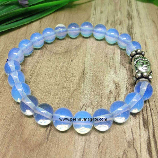 Opalite Beads Elastic Bracelet with Buddha face idol : Wholesale Yoga Bracelets from India