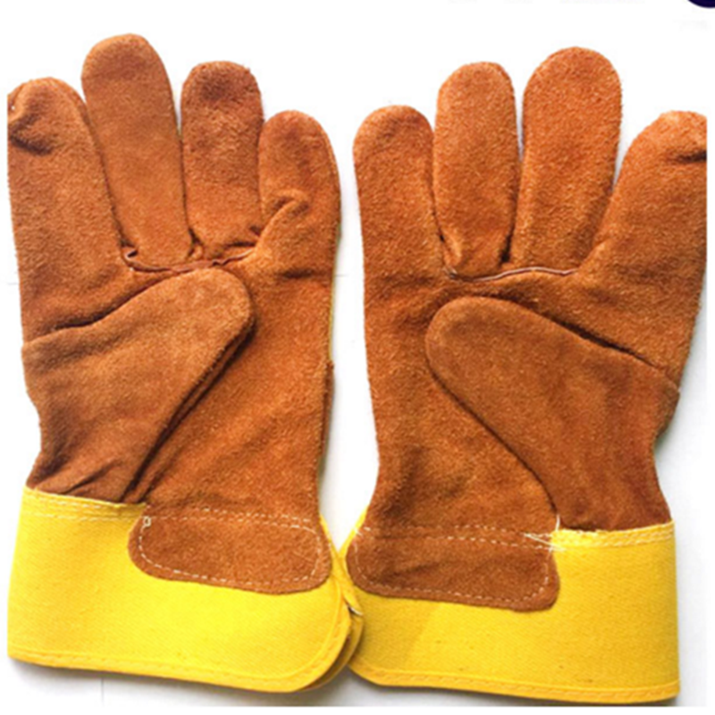 Promo manufacturer wholesale short cow split leather yellow welding work gloves