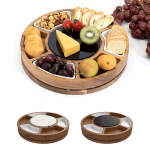 New Design Rotating Acacia Wood Round Serving Platter Cheese Board With 2 Knife Marble Plate 3 Ceramic Bowls