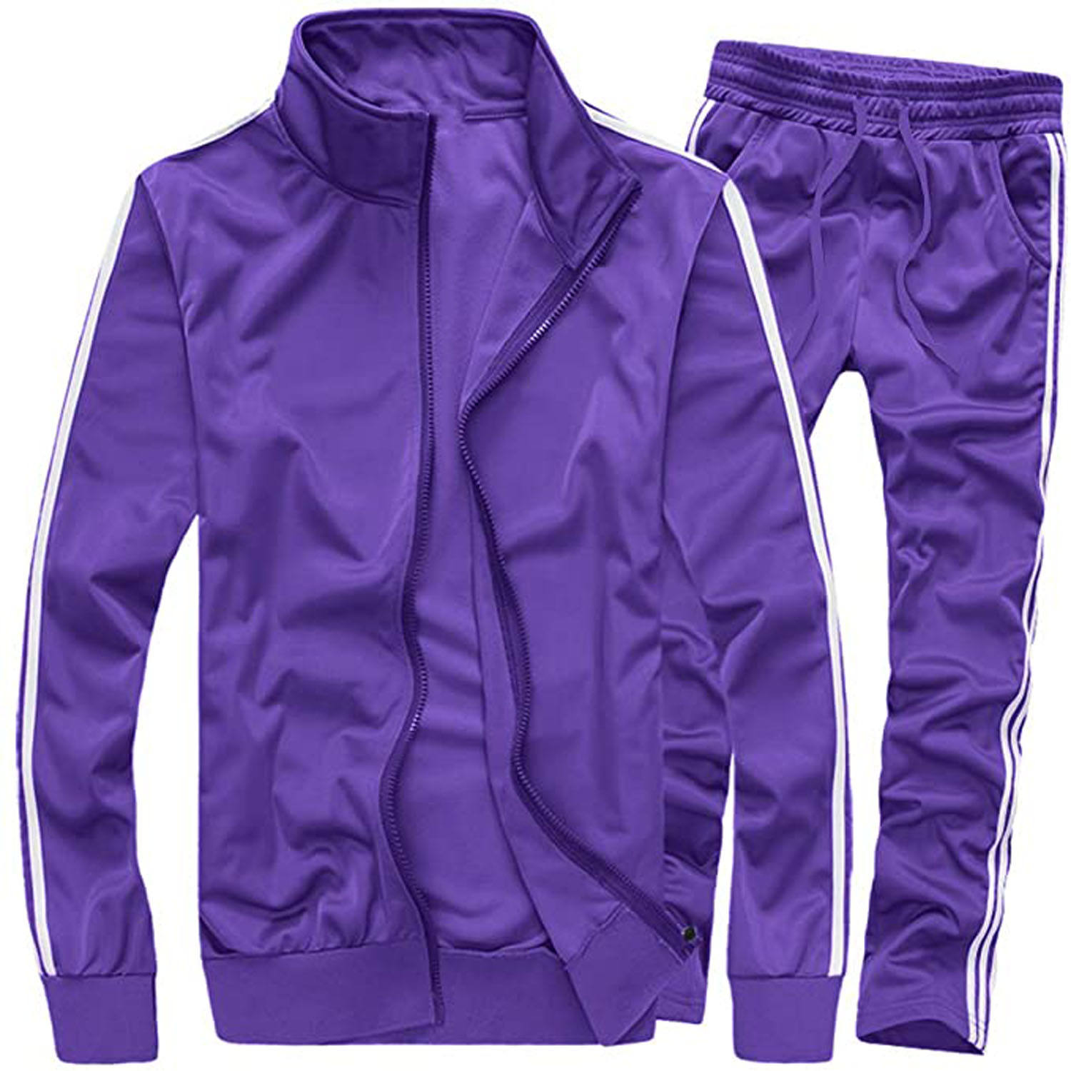 PA Purple Long Sleeve Jacket With Custom Pant Tracksuit, Polyester Fleece Tracksuit Wth Customized Logo OWM