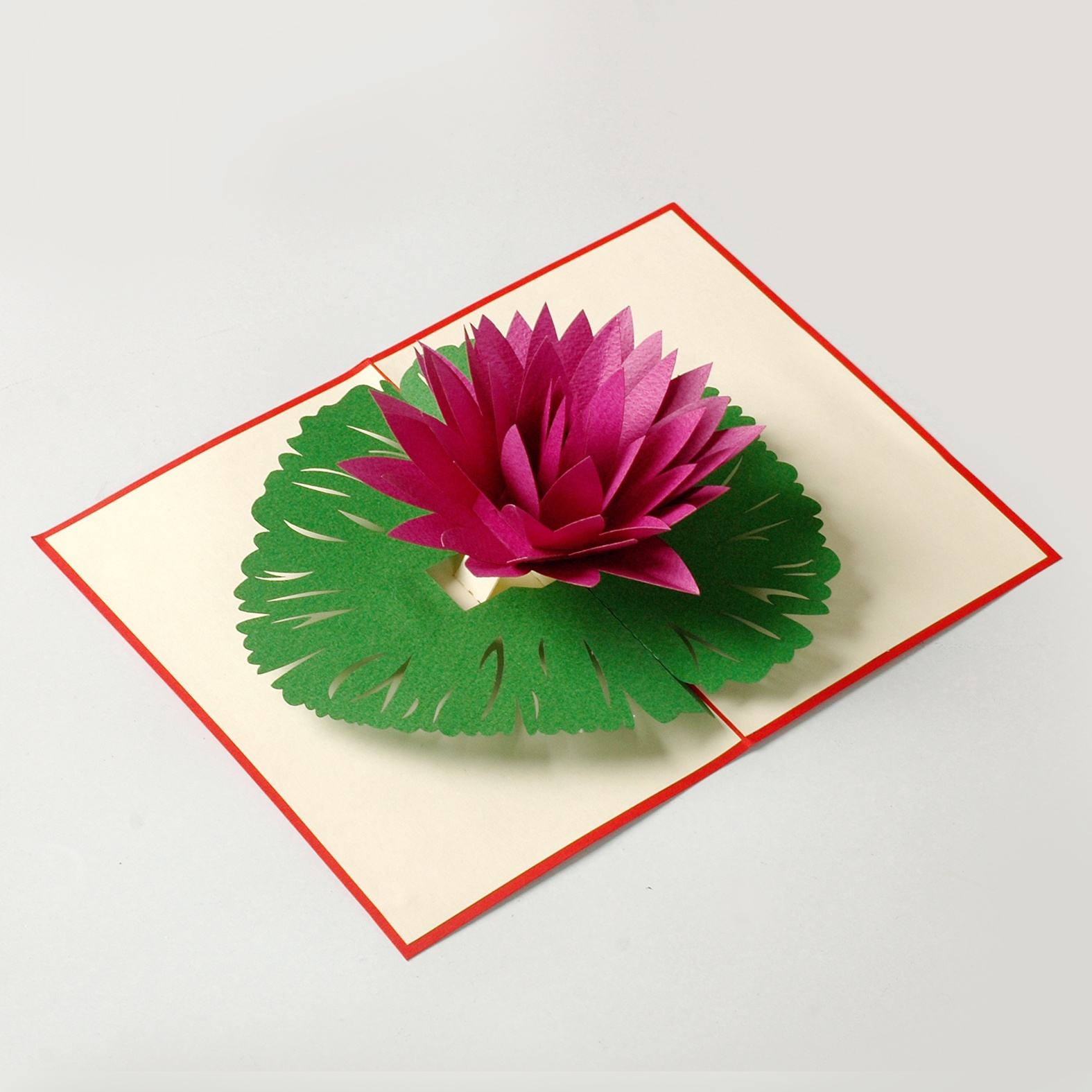 Flower 3D greeting popup card. Thank you pop-up card