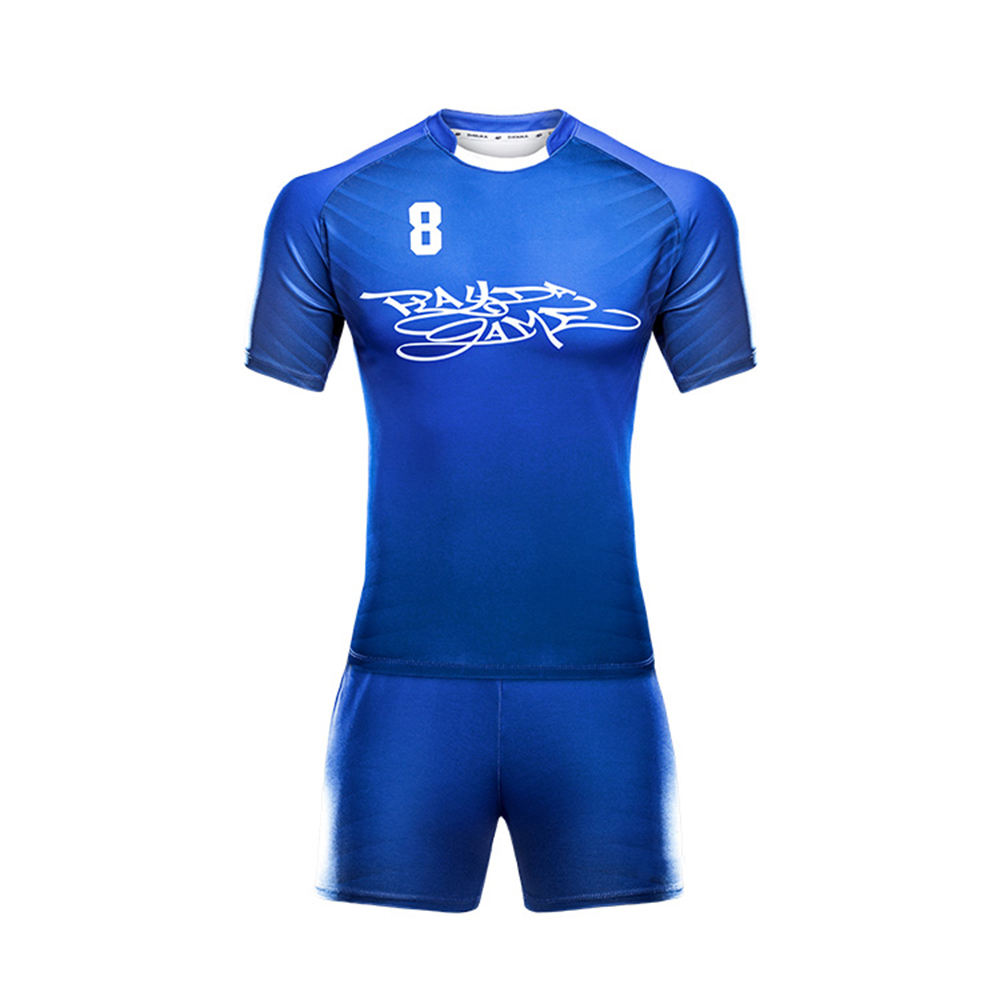 Breathable Rugby Football Sets Blue Color Jersey and Shorts