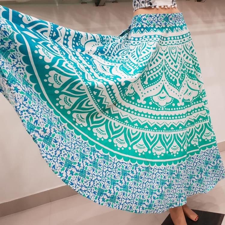 Rajasthani long skirt mandala printed skirt belly skirt