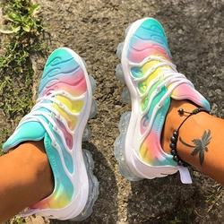 2020 New Fashion Style Round Toe Rhainbow Colors Lace-up Plu