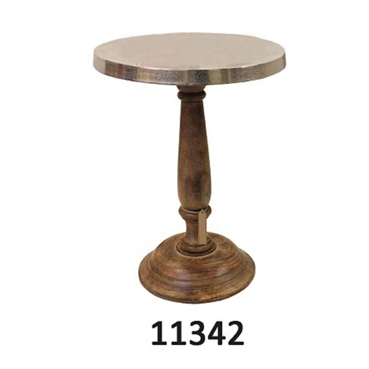 Round Aluminium Side Metal Table With Mango Wood Pedestal
