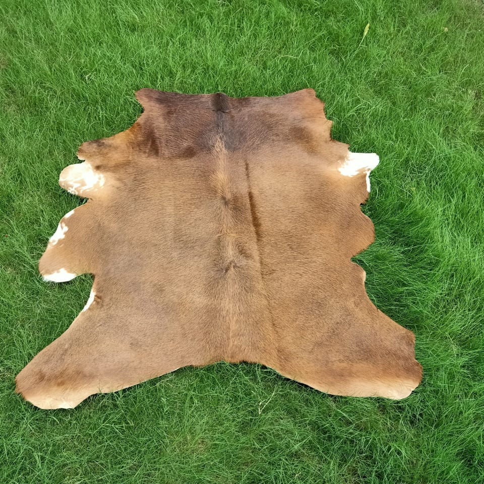 Cowhide Rugs Gray Real Hair on Cow Hide Skin Leather Area Rug Medium - XXL