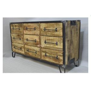 Classy design high quality vintage industrial Black Iron mango wood tall 8 drawer chest of drawers Cabinet