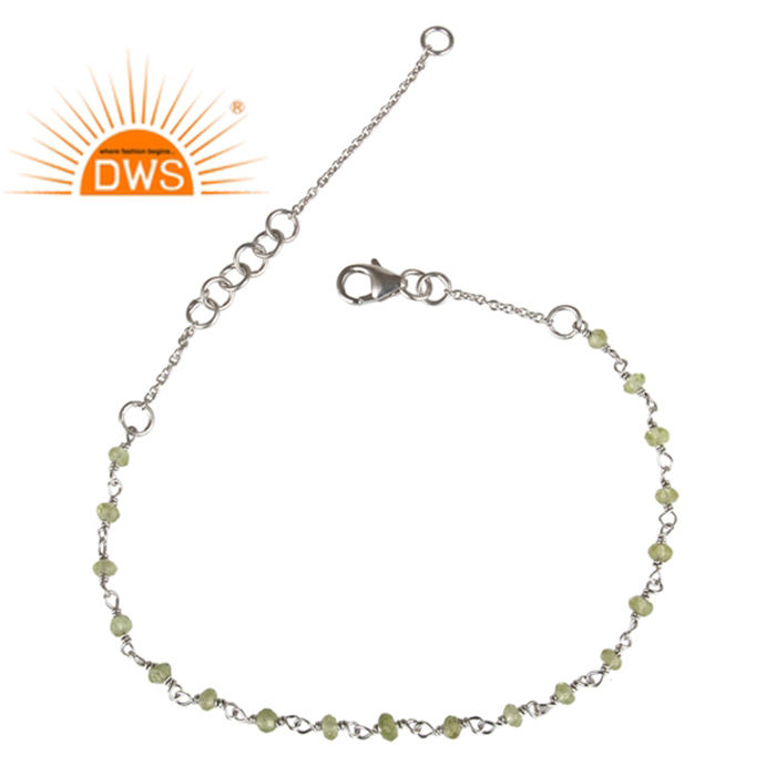Natural Peridot Gemstone Beads Chain Bracelet White Rhodium Plated 925 Silver Bracelet Indian Jewelry Supplier