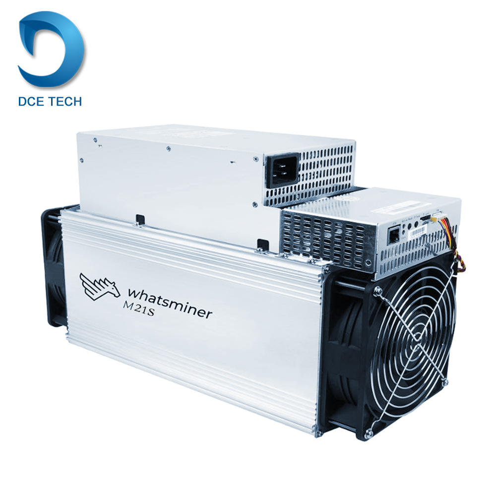 Ready Whatsminer M21S from MicroBT mining SHA-256 algorithm with a maximum hashrate of 56Th/s for a power consumption of 3360W.