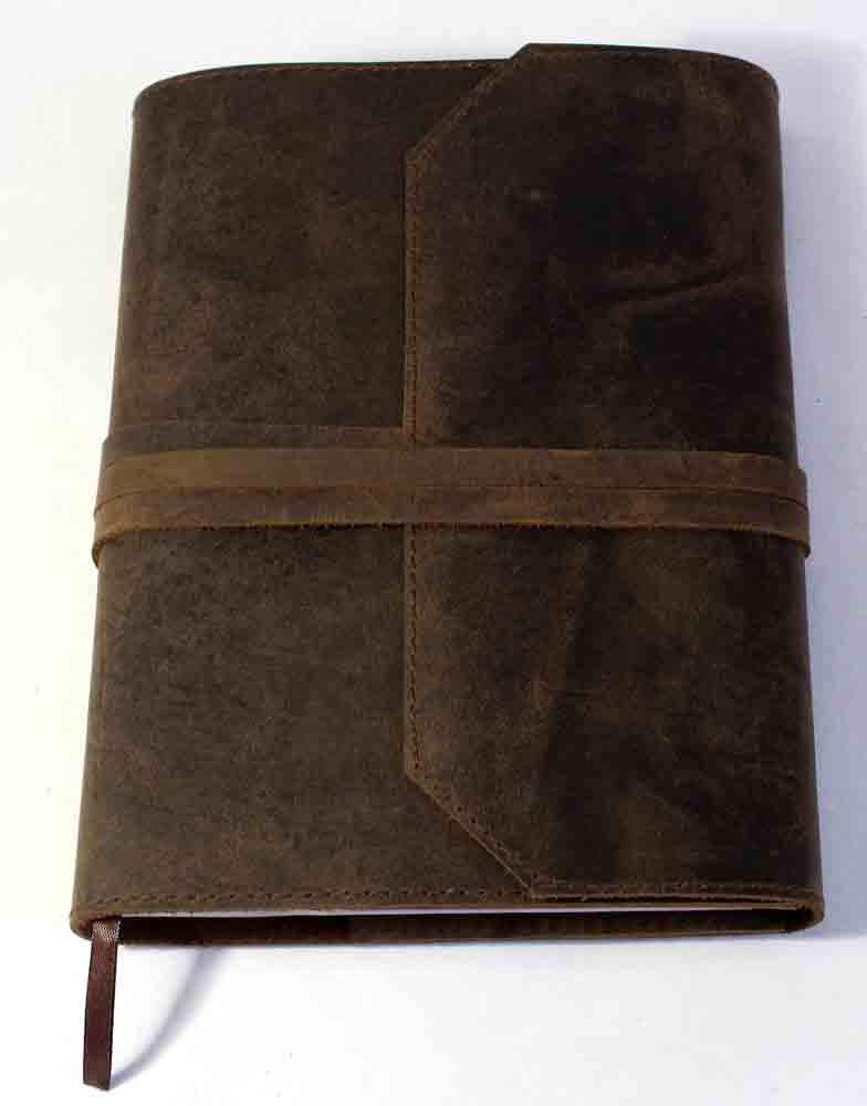 Vintage refillable genuine brown natural buffalo leather mill made line printed paper journal