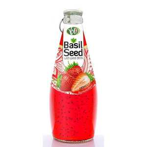 Basil seed drink with strawberry juice 290ml glass bottle cheap price bulk free sample from private label beverage high quality