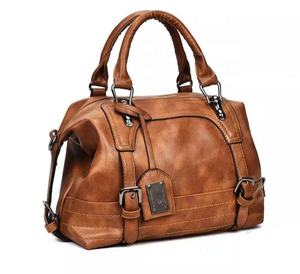 Wholesale Top grade quality genuine leather ladies bags double zipped compartments tote handbag women shoulder bag