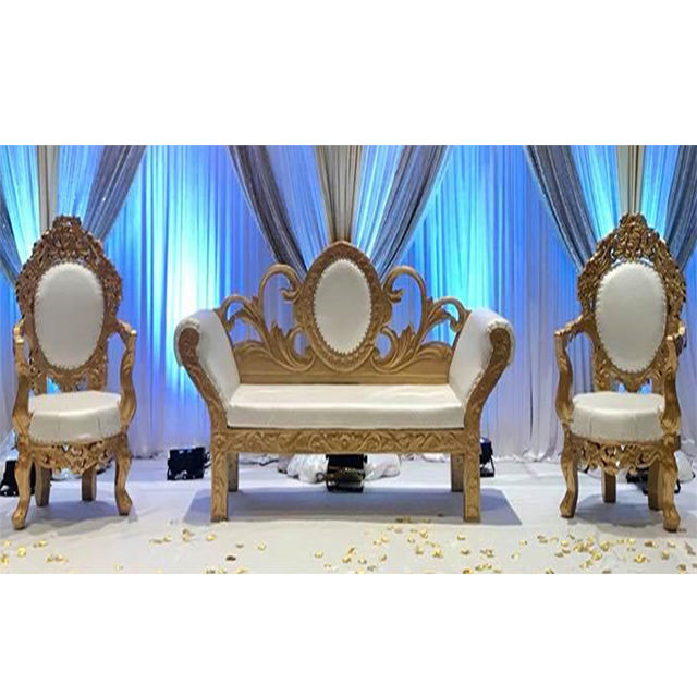 Luxury Wedding Gold & Ivory Sofa Set Royal Palace Wedding Throne Furniture Set Wonderful Comfortable Furniture For Wedding