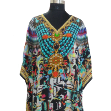 Wholesale 100% Pure silk Digital print kaftan for women