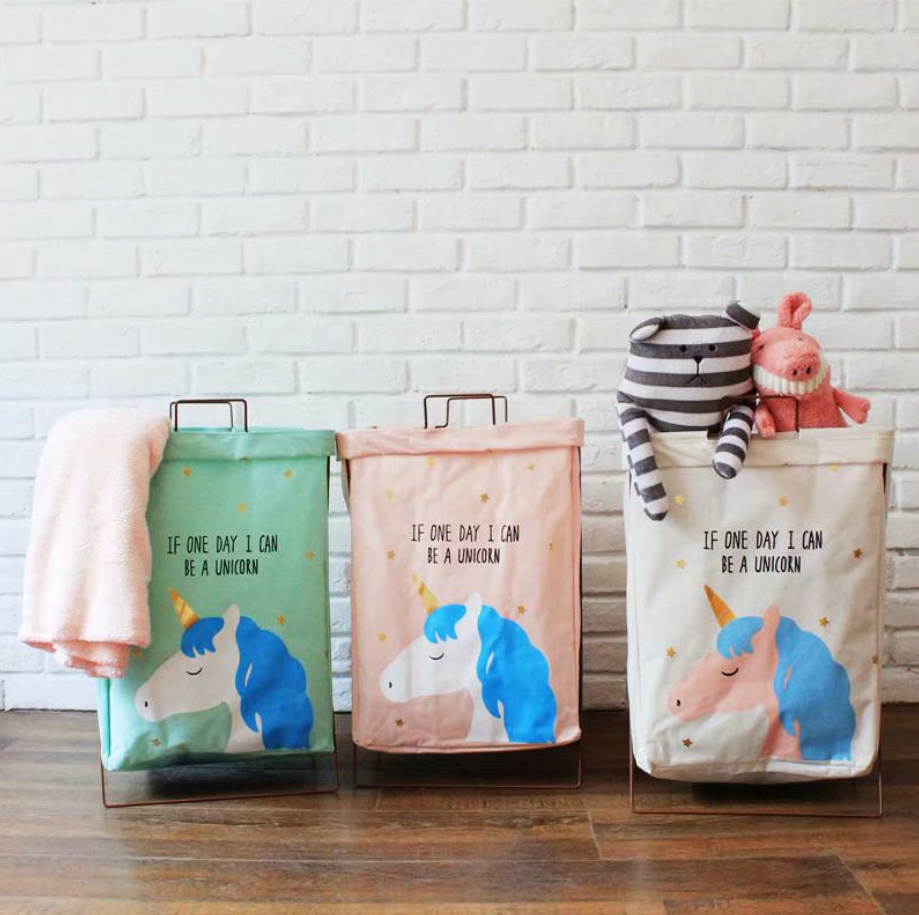 Hot Sale Cotton with Iron Frame Laundry Basket Storage Bag Dirty Clothes Clothing 55*38*28 cm