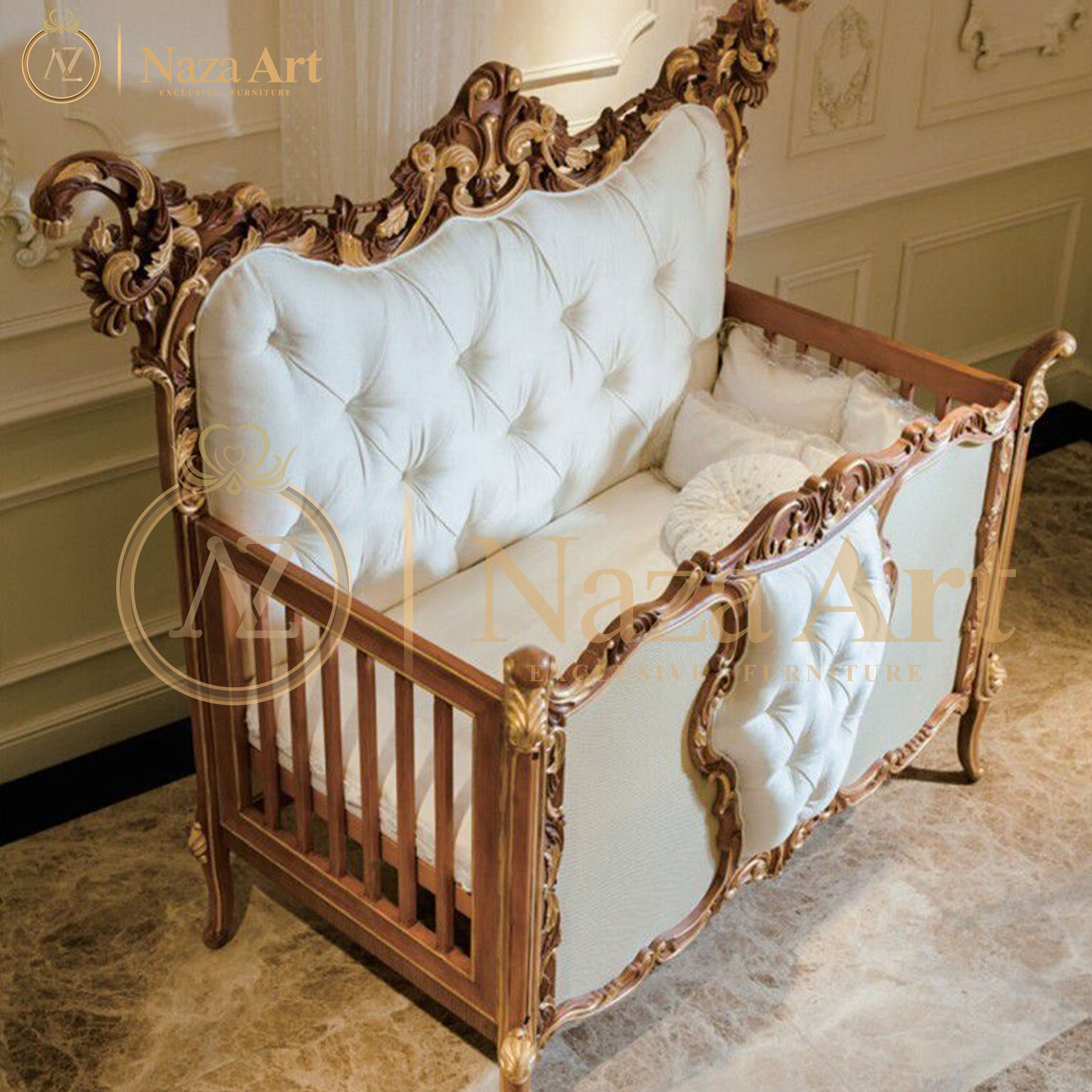 Luxury Classic Baby Cribs Baby Cot Bed Solid Wood Baby Crib