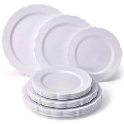 PARTY DISPOSABLE 30 PC DINNERWARE SET 10 Dinner Plates 10 Salad Plates 10 Desert Plates (Vintage Collection White)