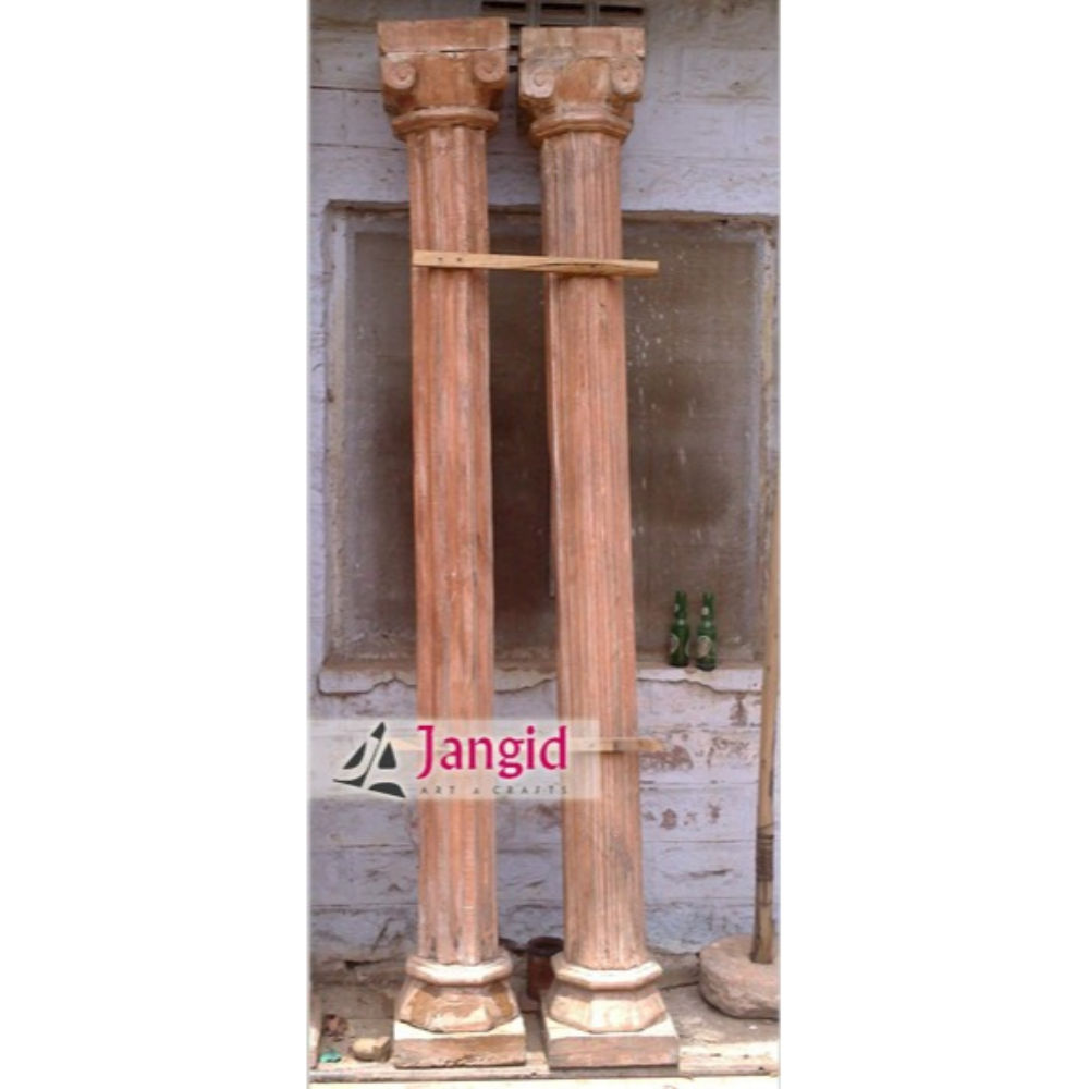 Indian Teak Wood Old Pillars with Stone Base