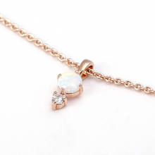 Rose gold plated chain charm necklace fashion jewelry necklace with crystal opal