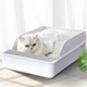 2020 New Arrival High Quality Extra Large Semi Closed Half Automatic Cleaning Tool Cat Toilet Plastic Cat Litter Box