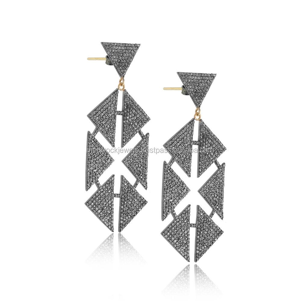 14k Vàng Pave Set Kim Cương Handmade Hexagon Dangle Bông Tai Đồ Trang Sức Thời Trang