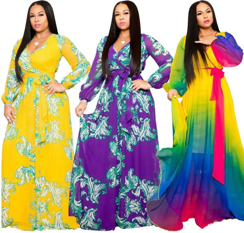 2020 Fashion Casual Printing Sling Loose Colorful Long Dress Plus Size Party Women Clothing Ladies Print Apparel