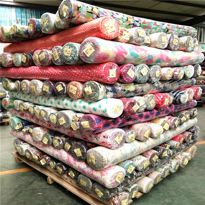 stock lot polyester chiffon fabric plain dyed/printed price per meter Factory Hot Sales printed polyester chiffon fabric pattern