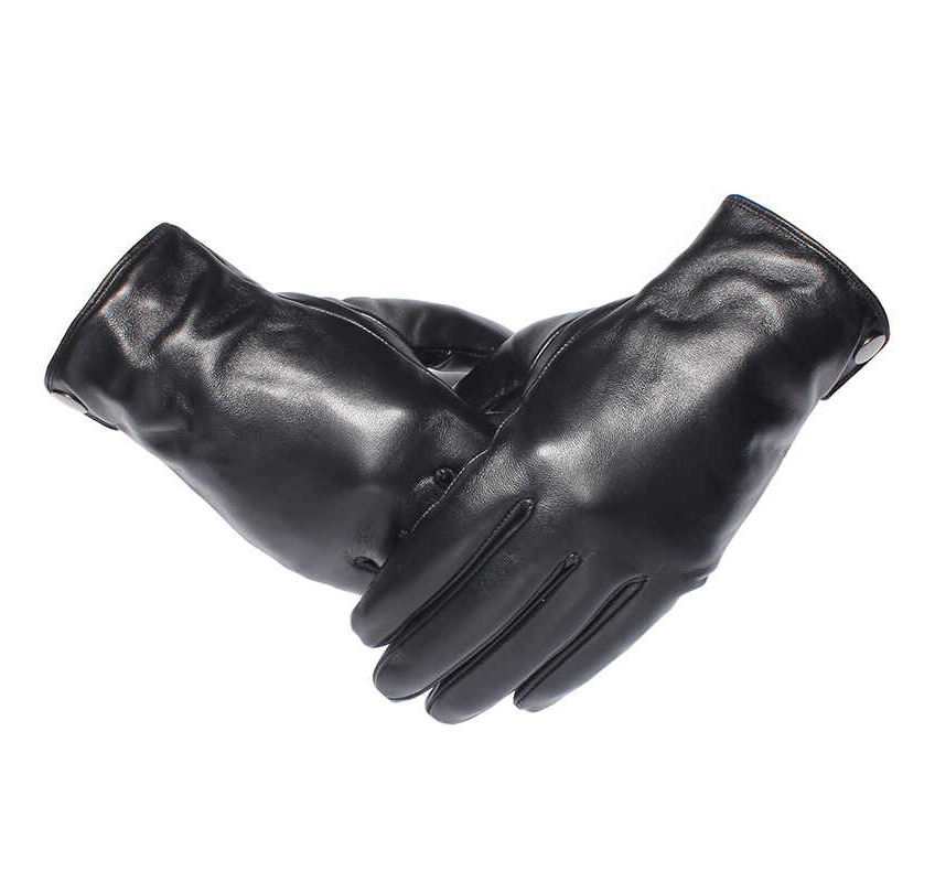 Men's Pure Leather Gloves Fashion Brand Real Sheepskin Winter Black Gloves
