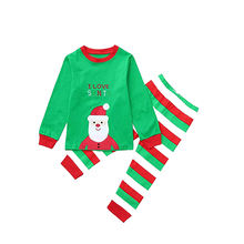 Hot Sale Fashion Red Green Striped Christmas Outfit Long Sleeve Kids Children Suit